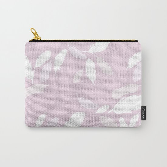 Feather Pattern Pink Carry-All Pouch