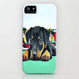 Doberman Puppy Guarding the Model Railroad iPhone Case