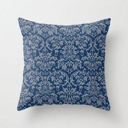 Elegant Damask Pattern (navy) Throw Pillow