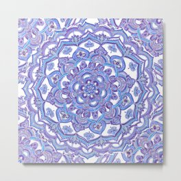 Lilac Spring Mandala - floral doodle pattern in purple & white Metal Print