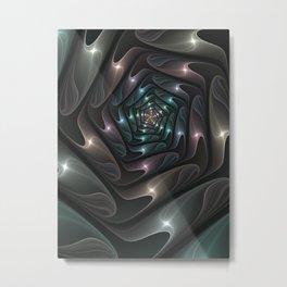 Metallic Spiral, Modern Abstract Fractal Art Metal Print