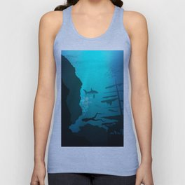 Beautiful coral reef and silhouettes of diver and school of fish in a blue sea Unisex Tank Top