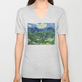 The Olive Trees by Vincent van Gogh Unisex V-Neck