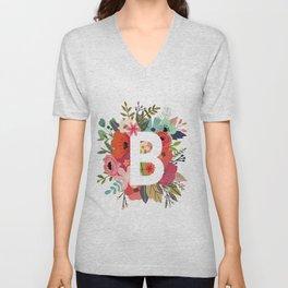 B – Monogrammed Floral Initial Unisex V-Neck