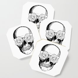 Skull and Roses | Black and White Coaster