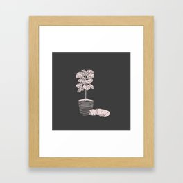 Cat and Plant Framed Art Print