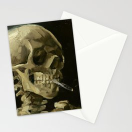 SKULL OF A SKELETON WITH BURNING CIGARETTE - VINCENT VAN GOGH Stationery Cards
