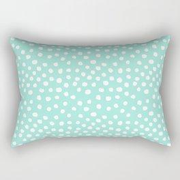 Preppy mint  dots polka dots abstract minimal white brushstroke dot pattern print painting  Rectangular Pillow