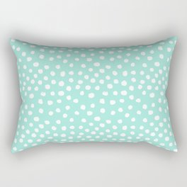 Preppy mint  dots polka dots abstract minimal white brushstroke dot pattern print painting  Rectangular Pillow