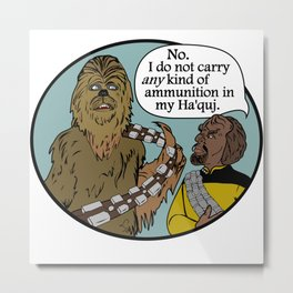 Worf & the Wookie Metal Print