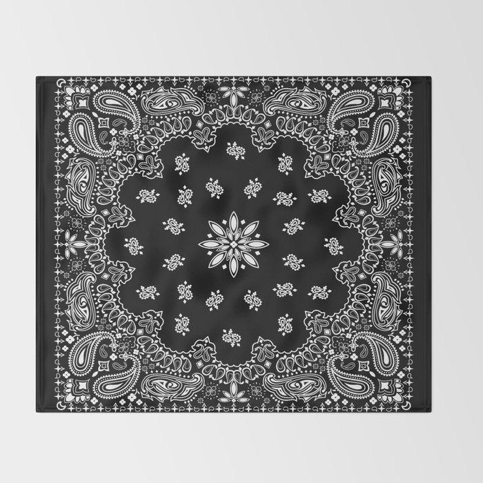 Black And White Bandana Pattern Throw Blanket By Martaolgaklara Inspiration Bandana Pattern