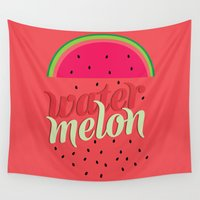 watermelon Wall Tapestries featuring Watermelon by Bruna Guaragna