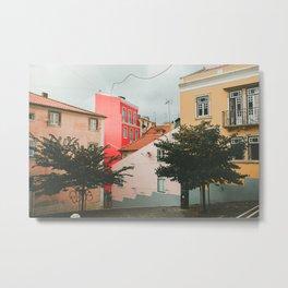 Colorful Pink Walls in Alfama District Metal Print