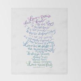 Love is patient, Love is Kind-1 Corinthians 13:4-8 Throw Blanket