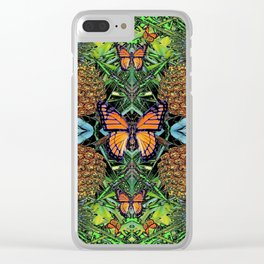 MONARCH BUTTERFLY PINEAPPLE ABSTRACT PATTERN Clear iPhone Case