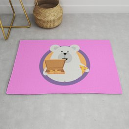 Polar Bear with Pizza in cirlce Rug