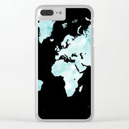 Design 72 world map aqua Clear iPhone Case