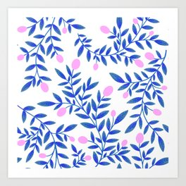 Citrus Summer Pattern - Pink & Blue  Art Print