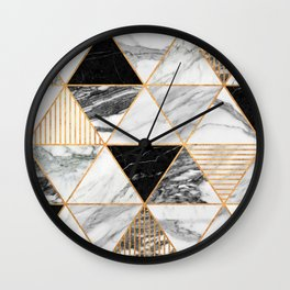 Marble Triangles 2 - Black and White Wall Clock