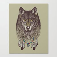 wolf Canvas Prints featuring Wind Catcher Wolf by Rachel Caldwell