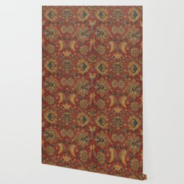 Flowery Boho Rug II // 17th Century Distressed Colorful Red Navy Blue Burlap Tan Ornate Accent Patte Wallpaper