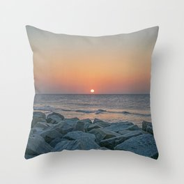 Sunrise at the Battery Seawall Fort Fisher NC Throw Pillow