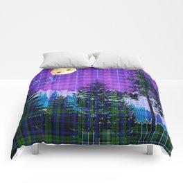 Moonlit Plaid Forest Comforters