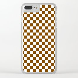 Small Checkered - White and Chocolate Brown Clear iPhone Case