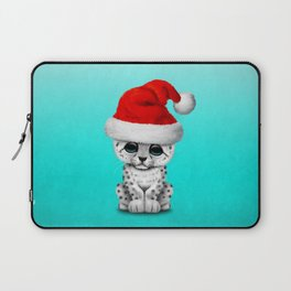 Christmas Snow Leopard Wearing a Santa Hat Laptop Sleeve