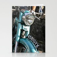 moto Stationery Cards featuring Vintage moto by Johanna Arias