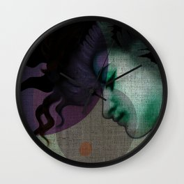 """""""The Girl and the Moon Burlap Texture"""" Wall Clock"""