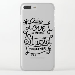 Simple Black and White Hand Drawn Love Quote Clear iPhone Case
