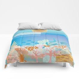 Great Barrier Reef, Australia - Skyline Illustration by Loose Petals Comforters