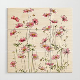 Pink Cosmos Flowers Wood Wall Art