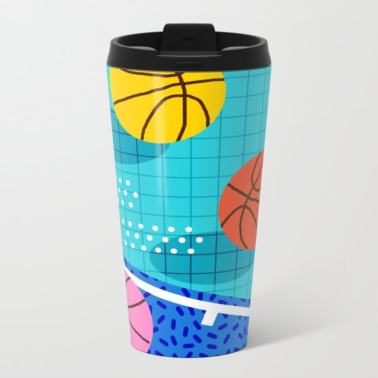 All Day - basketball sports memphis retro throwback neon trendy colors athletic art design Metal Travel Mug