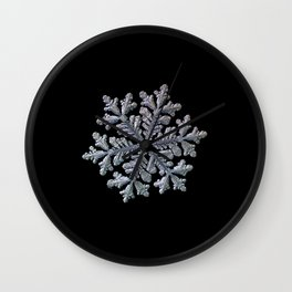 Real snowflake - Hyperion black Wall Clock
