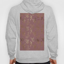 Mauve pink faux gold wildflowers illustration Hoody