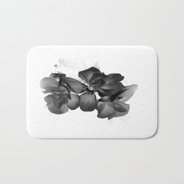 Black Geranium in White Bath Mat