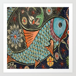 bohemian folk art orange aqua blue japanese good luck koi fish Art Print