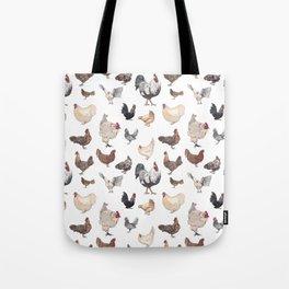Chicken Happy (white) Tote Bag