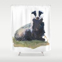 badger Shower Curtains featuring badger by Maiko Horita