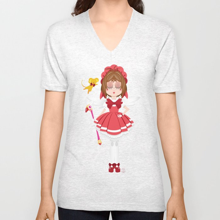 Mini Me Stars: Red Sakura Unisex V-Neck