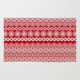 Cute Red Crochet Lace Flowers  Rug