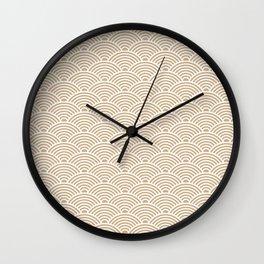 Japanese Waves (White & Tan Pattern) Wall Clock