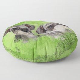 Miniature Schnauzers on Lime Green  Digital Art Floor Pillow