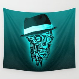 Elegant Skull with hat,mint Wall Tapestry
