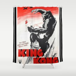 Vintage 1933 Version of RKO's King Kong Movie Cinema Poster Wall Art Shower Curtain