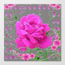 ROMANTIC CERISE PINK ROSE GREY ART RIBBONS Canvas Print