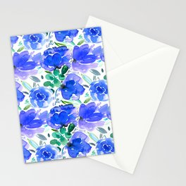 Big Blue Watercolour Painted Floral Pattern Stationery Cards