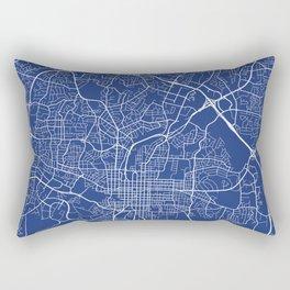 Raleigh Map, USA - Blue Rectangular Pillow